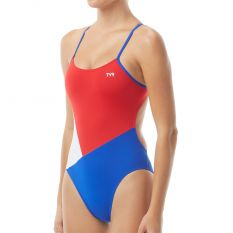 TYR Solid Splice Block Cutoutfit-Red/White/Blue-26