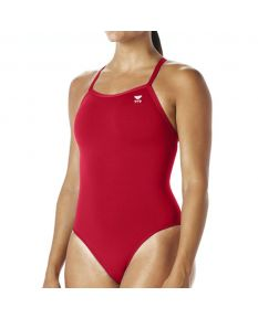 TYR Solid Diamondfit Swimsuit - Color - Red,Size - 26