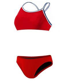 Rise Solid Poly Tri Color Bikini