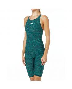 TYR Thresher Baja Female Open Back Suit-Green-20